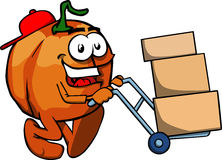 Pumpkin as delivery man Royalty Free Stock Photography