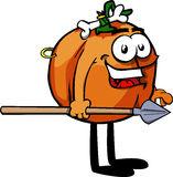 Pumpkin as native holding a spear Stock Image
