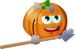 Pumpkin as native holding a spear Stock Photography