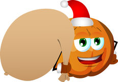 Pumpkin as Santa Claus with a big sack Stock Photography