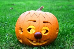 Pumpkin as a squinting Royalty Free Stock Images