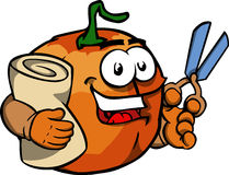 Pumpkin as tailor with scissors Royalty Free Stock Photo