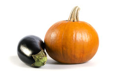 Pumpkin and aubergine Royalty Free Stock Photography