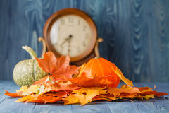 Pumpkin with Autumn Leaf Stock Photography