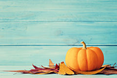 Pumpkin and autumn leafs Royalty Free Stock Photography