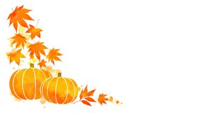 Pumpkin and autumn leaves corner frame Royalty Free Stock Photography