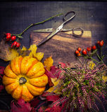 Pumpkin with autumn leaves and flowers, vintage  scissors on rustic wooden background Stock Images