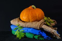 Pumpkin and autumn leaves on the pile of scarves. Dark background royalty free stock photo