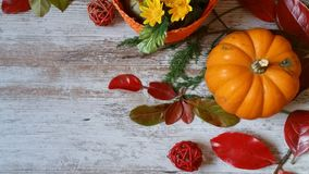 Pumpkin and autumn leaves on wooden background. Vibrant orange pumpkin and colorful autumn leaves on wooden background Stock Image