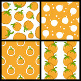 Pumpkin Autumn Seamless Patterns Set. Collection of four seamless patterns with pumpkins,  on white and orange background. Useful also as design element for Stock Photography