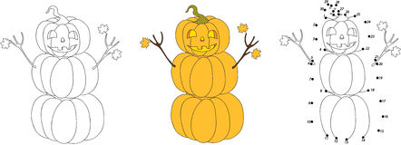 Pumpkin autumn snowman with friendly face. Vector illustration. Royalty Free Stock Images