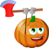 Pumpkin with an axe Stock Photography