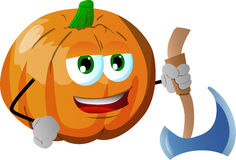 Pumpkin with axe Royalty Free Stock Images