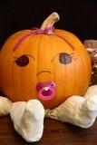 Pumpkin Baby Girl Portrait Stock Photo