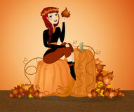 Pumpkin Background. Illustration of a fall background with pumpkins with a woman sitting on top royalty free illustration