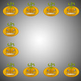 A Pumpkin background on grey background. A background of pumpkins for Halloween with copy space Stock Photo