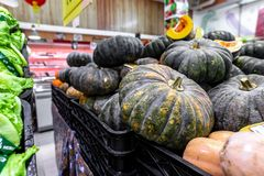 Pumpkin background. Many pumpkins on a local organic food market on Bali island, Indonesia. Asia stock image