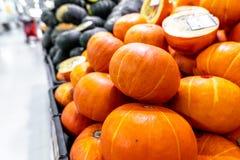 Pumpkin background. Many pumpkins on a local organic food market on Bali island, Indonesia. Asia royalty free stock photos