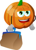 Pumpkin with bag Royalty Free Stock Photo
