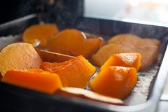 Pumpkin baked in oven Royalty Free Stock Images
