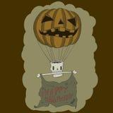 Pumpkin Balloon with skull. vector illustration Royalty Free Stock Photo