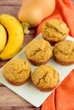 Pumpkin banana muffins. Homemade baked pumpkin banana muffins Stock Image