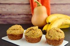 Pumpkin banana muffins. Homemade baked pumpkin banana muffins Royalty Free Stock Images