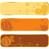 Pumpkin banners with gold rim Royalty Free Stock Photo