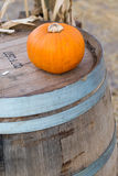 Pumpkin on barrel Royalty Free Stock Photos
