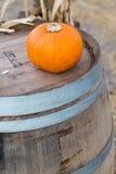 Pumpkin on barrel royalty free stock photos