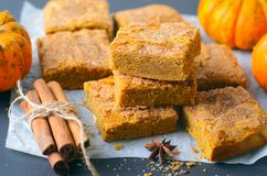 Pumpkin Bars with Cinnamon Sugar Crust, Freshly Baked Pumpkin Blondies stock image