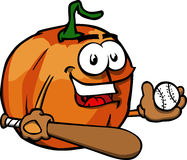 Pumpkin baseball batter Royalty Free Stock Image