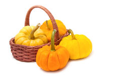 Pumpkin in basket Stock Image