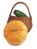 Pumpkin and basket Stock Image