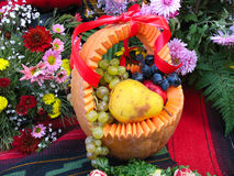 Pumpkin basket with autumn harvest Stock Photos