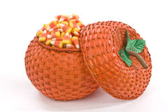 Pumpkin Basket Full Of Candy Corn Stock Images