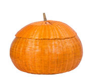Pumpkin basket isolated on white Royalty Free Stock Image