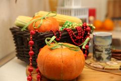 Pumpkin in the basket stock images