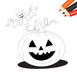 Pumpkin and bat. Halloween coloring book page for kids: Black and white sketch with pumpkin and bat Stock Photo