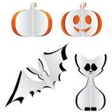 Pumpkin, bat and cat. Royalty Free Stock Photo