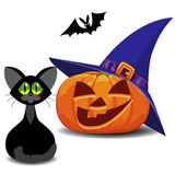 Pumpkin, bat and cat. Halloween. Stock Photography