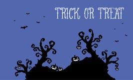 Pumpkin and bat Halloween landscape at night Stock Image