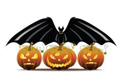 Pumpkin and Bat Royalty Free Stock Photo