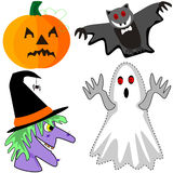Pumpkin, bat, witch and ghost Stock Photos