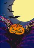 Pumpkin and bats Stock Photo