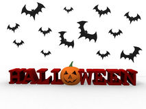Pumpkin and bats Royalty Free Stock Images