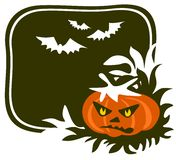 Pumpkin and bats. Cartoon pumpkin on a black background. Halloween illustration Stock Images
