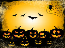 Pumpkin Bats Represents Trick Or Treat And Celebration Stock Photos