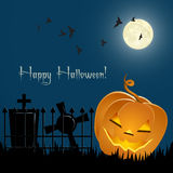 Pumpkin, bats and tombs in front of the night sky Stock Photos