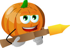 Pumpkin with bazooka Royalty Free Stock Images